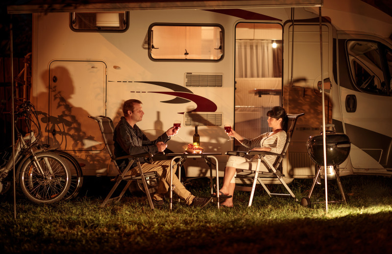 Couple camping at Kel's Kove.