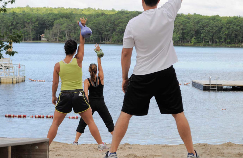 Beach fitness at Woodloch Resort.