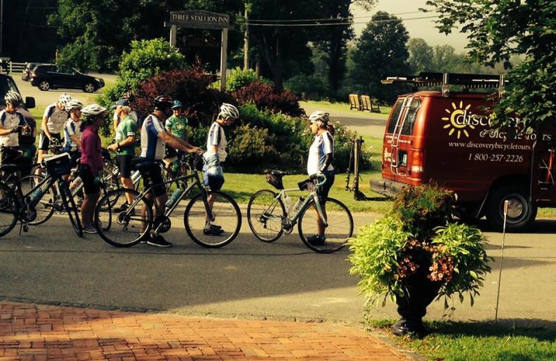 Biking at Three Stallion Inn.