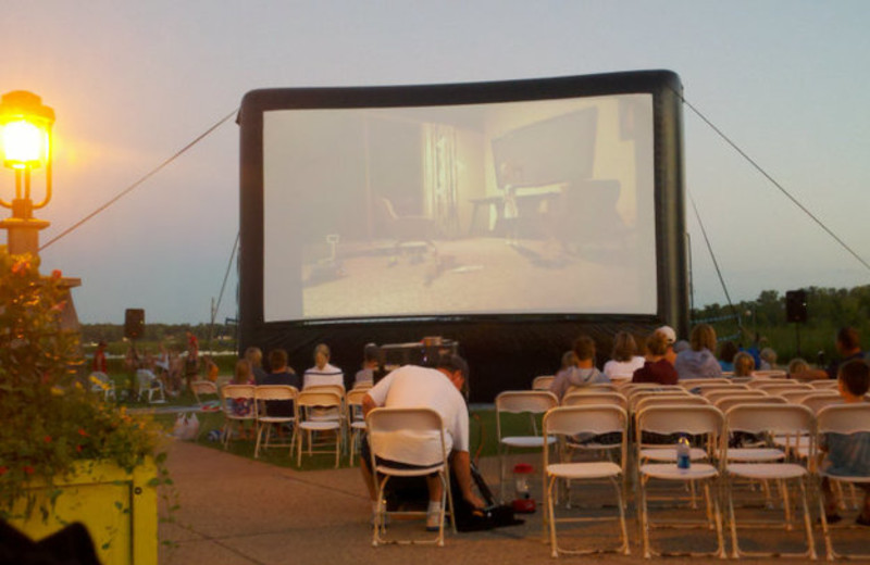 Outdoor movie theater at Arrowwood Resort.