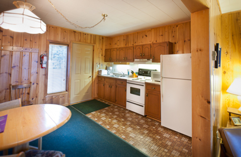 Cottage kitchen area at Blue Spruce Resort.