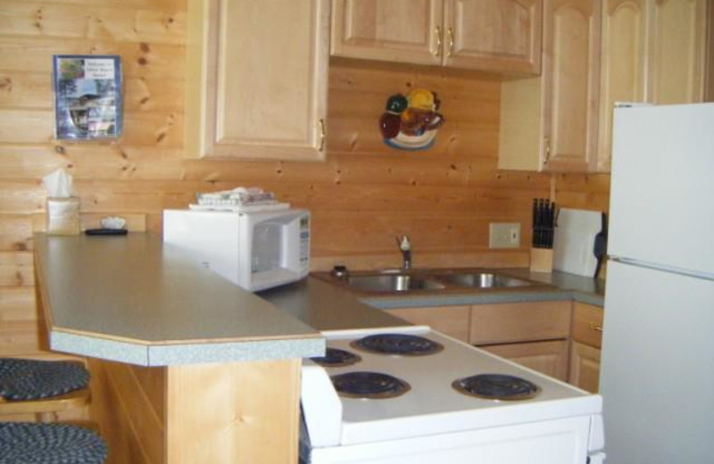 Cabin kitchen at Silver Beach Resort.