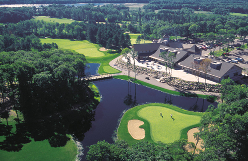Aerial view of Cragun's Resort and Hotel on Gull Lake.