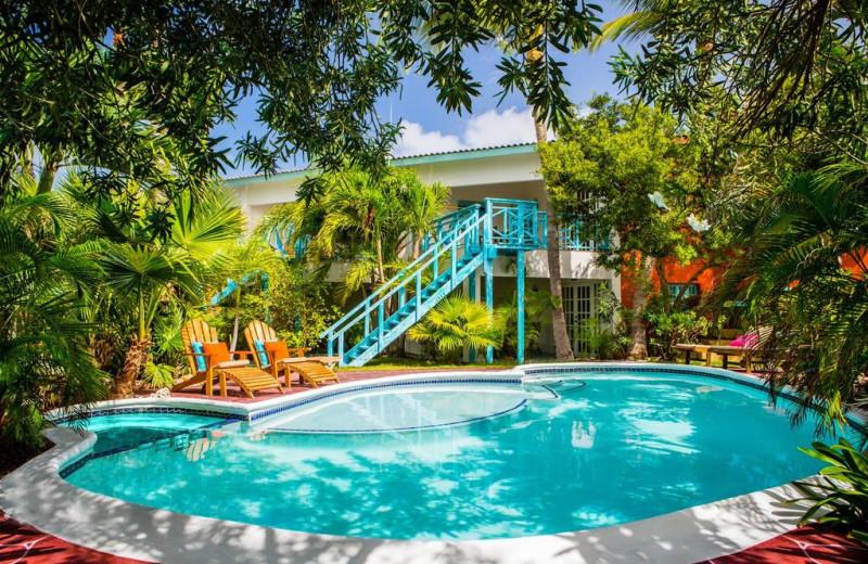 Outdoor pool at Boardwalk Vacation Retreat.