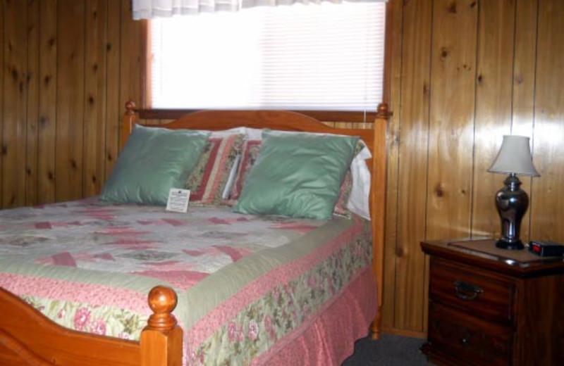 Cottage bedroom at Blue Horizon Lodge.