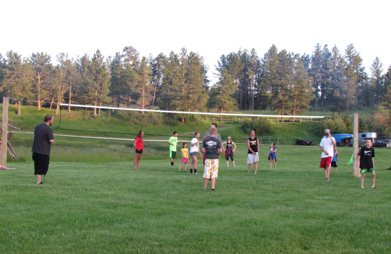Family volleyball at High Country Guest Ranch.