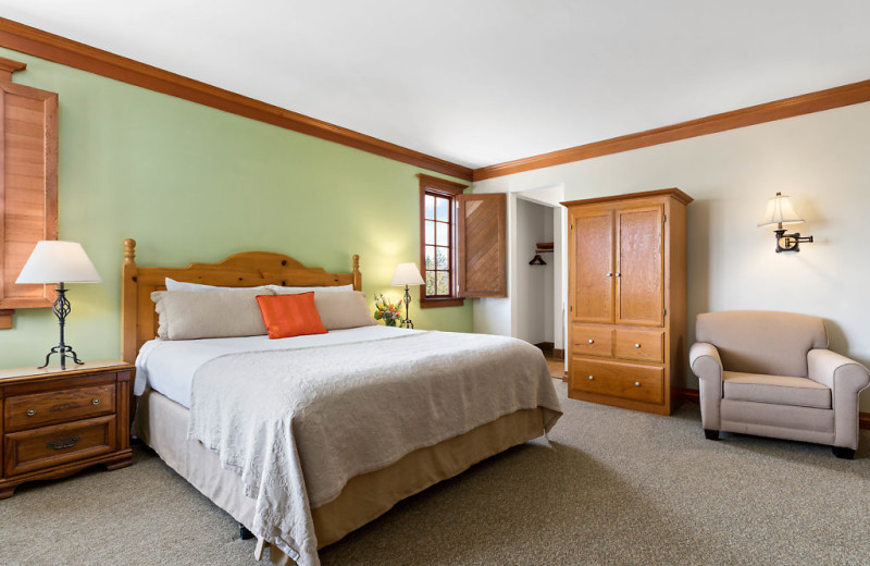 Features include king bed, pull out queen sofa bed, gas fireplace and walk in shower.