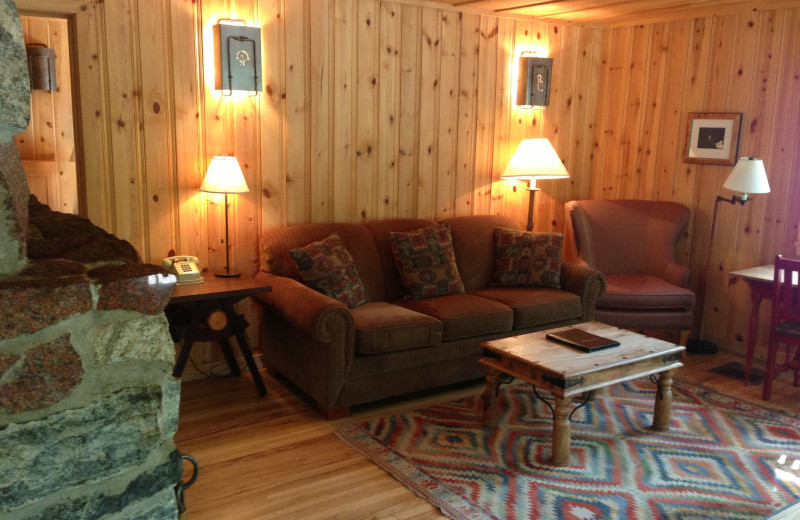 Cabin living room at Freestone Inn and Cabins.