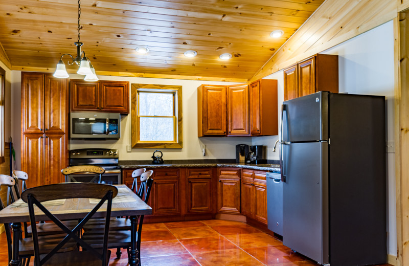 Cabin kitchen at Cayuga Lake Cabins.