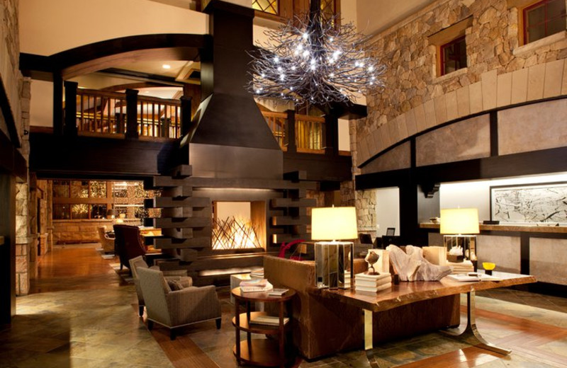 The lobby and fireplace in the entry area of The Sebastian Vail.