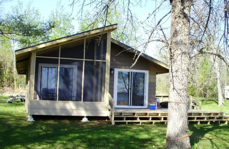 Cabin exterior at Sandy Point Lodge.