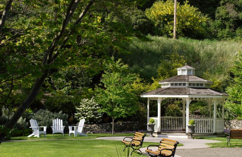 Garden view at Bishop Victorian Hotel.
