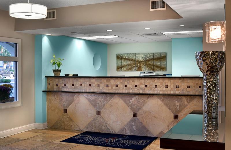 Reception desk at Paradise Resort.