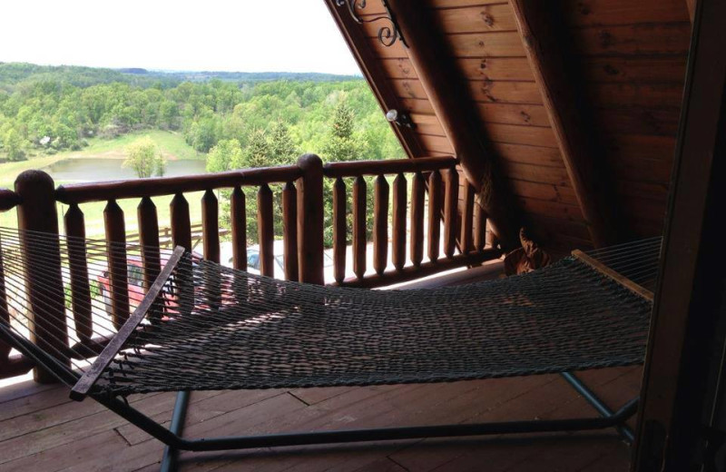 Relaxing on the balcony at Pine Lakes Lodge.