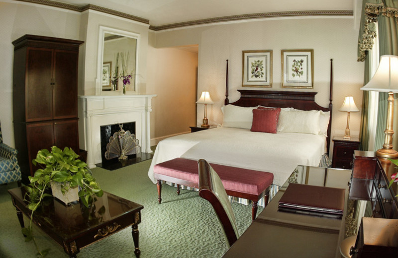 Guest room at The Jefferson Hotel.