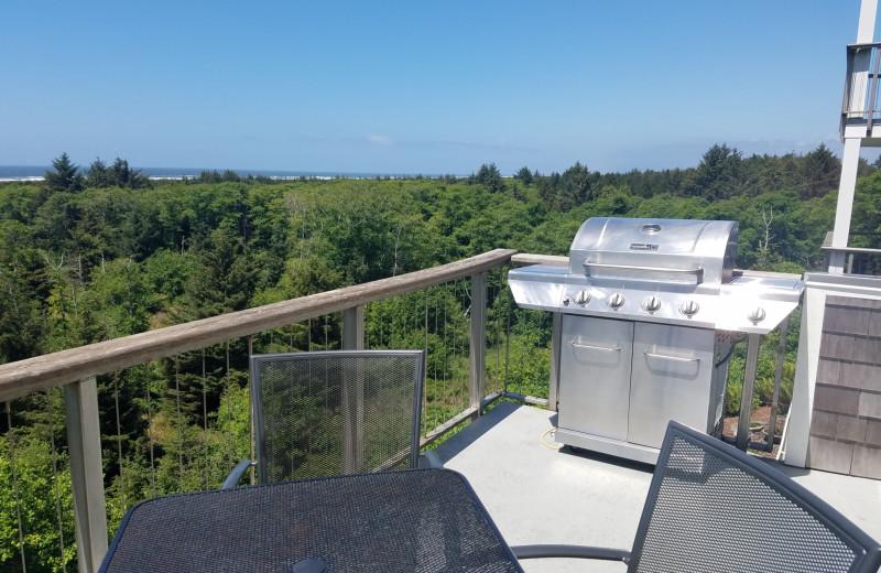 Rental balcony at Oceanfront Getaways.