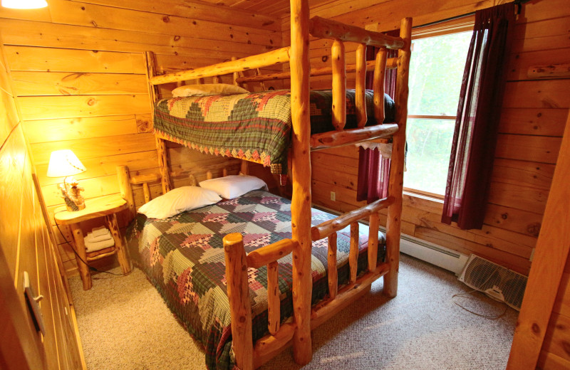Cabin bunk beds at Northern Outdoors.