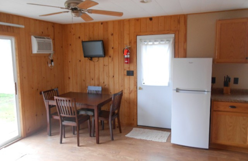 Cabin dining area at Hidden Haven Resort and Campground.