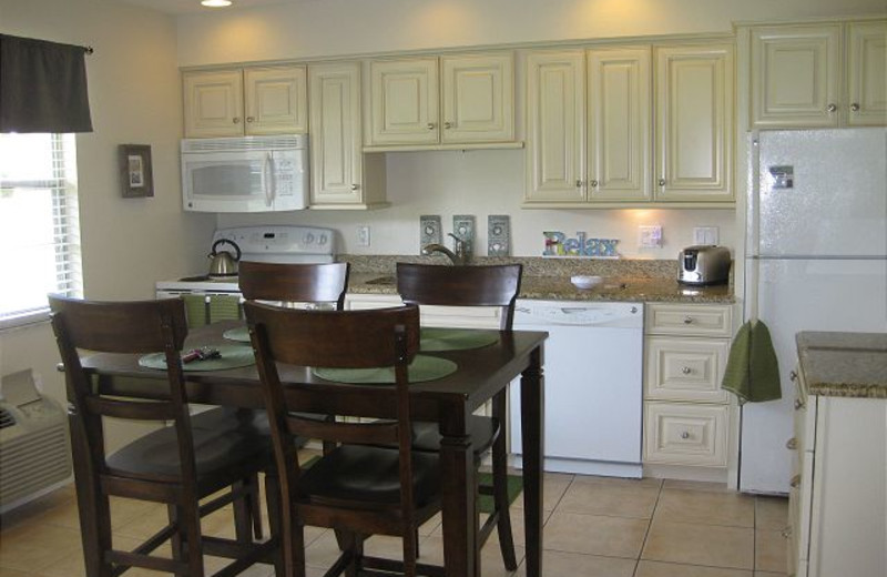Vacation rental kitchen at Harborview Rentals.