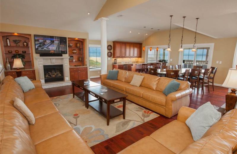 Rental living room at Sandbridge Realty.