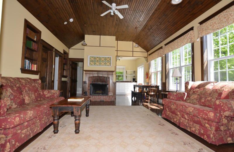 Cottage living room at Port Cunnington Lodge & Resort.