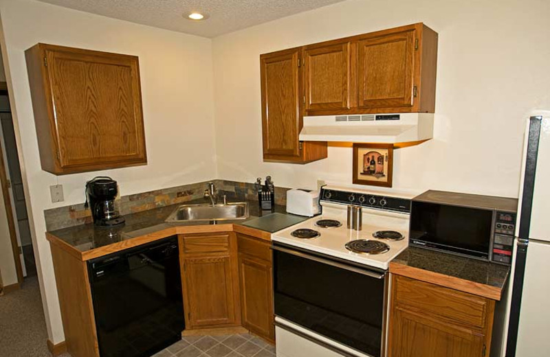 Suite kitchen at Woodlands On Fall River.