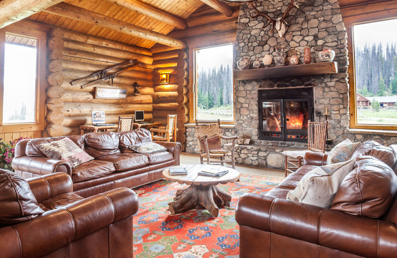 Guest room at Brooks Lake Lodge.