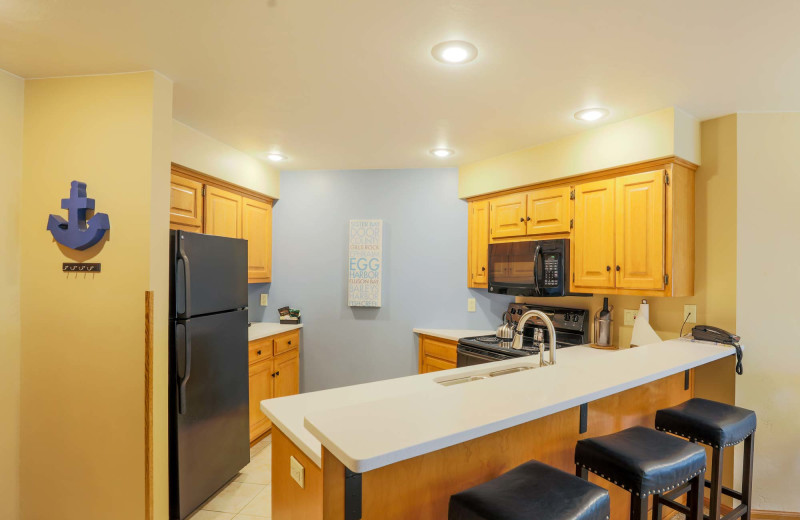Guest kitchen at Glidden Lodge Beach Resort.
