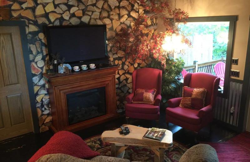 Cabin living room at Chateau Lake Logan.