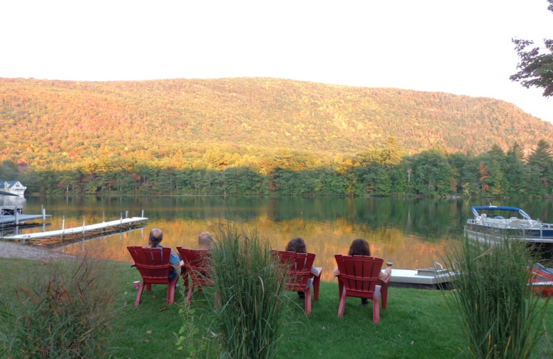 Relaxing by the lake at HighWinds Lodge & Cottages.