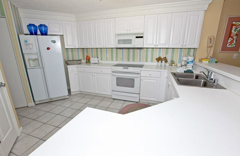 Rental kitchen at Sterling Sands Condominiums.