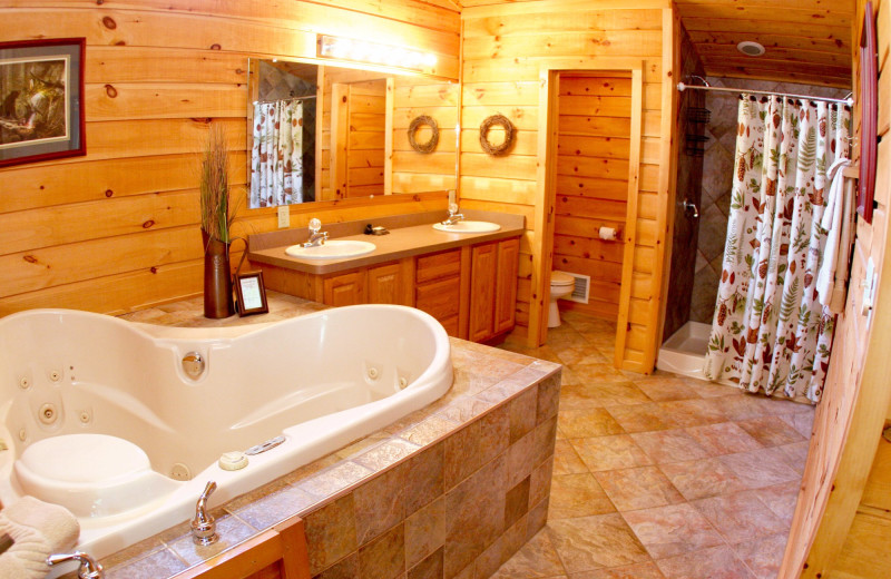 Guest bathroom at The Lodges at Cresthaven on Lake George.