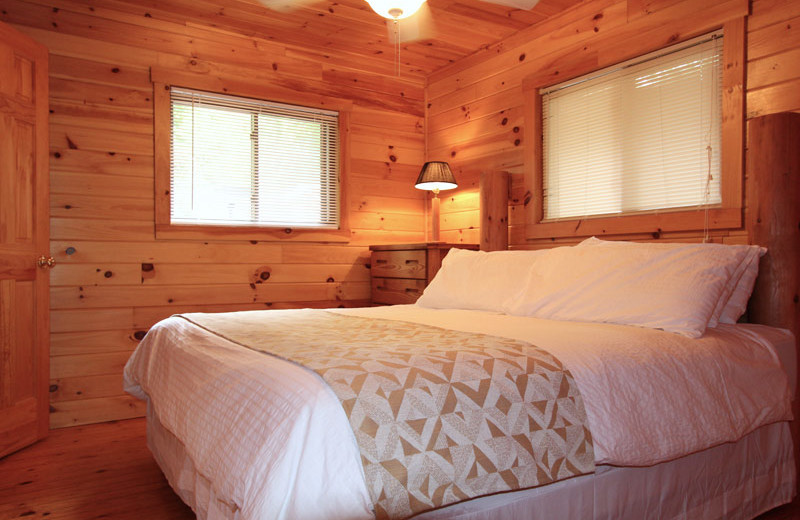 Cottage bedroom at Nantahala Village.