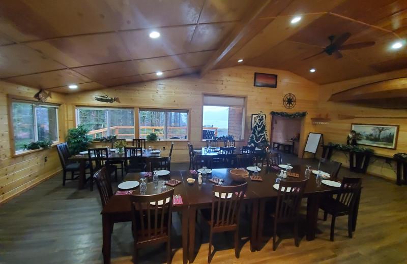 Dining at Afognak Wilderness Lodge.