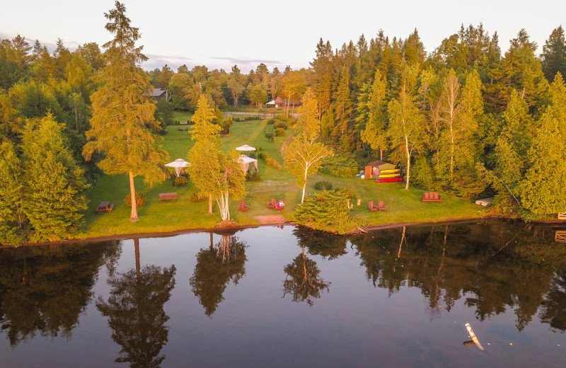 Aerial view of Lake Clear Lodge & Retreat.