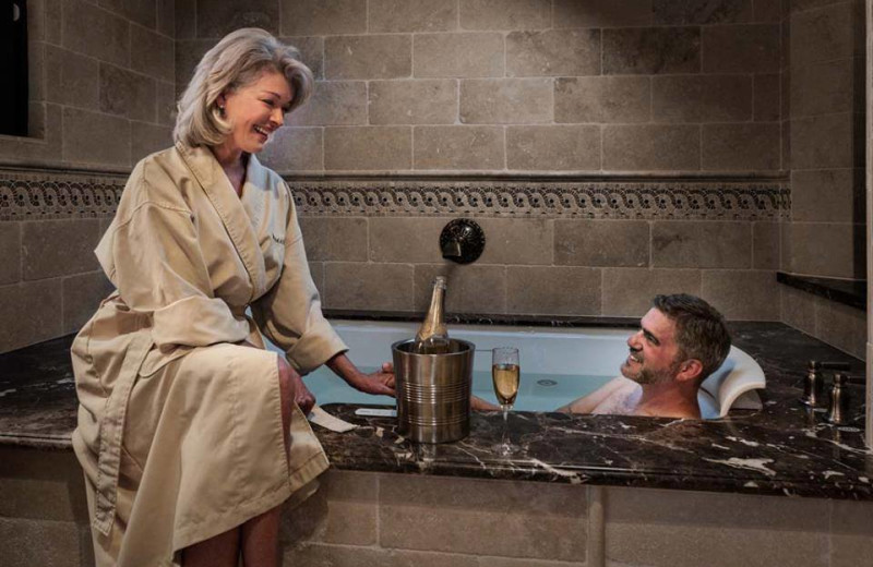 Couple in spa at Roman Spa Hot Springs Resort.