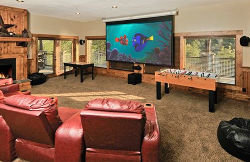 Cabin movie theater at Dollywood Cabins.