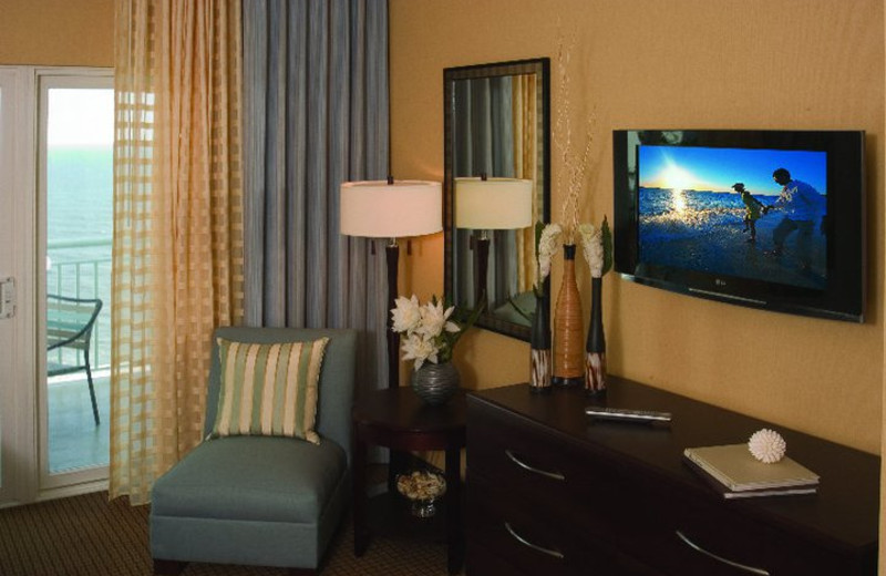 Guest room at Hilton Suites Ocean City Oceanfront.
