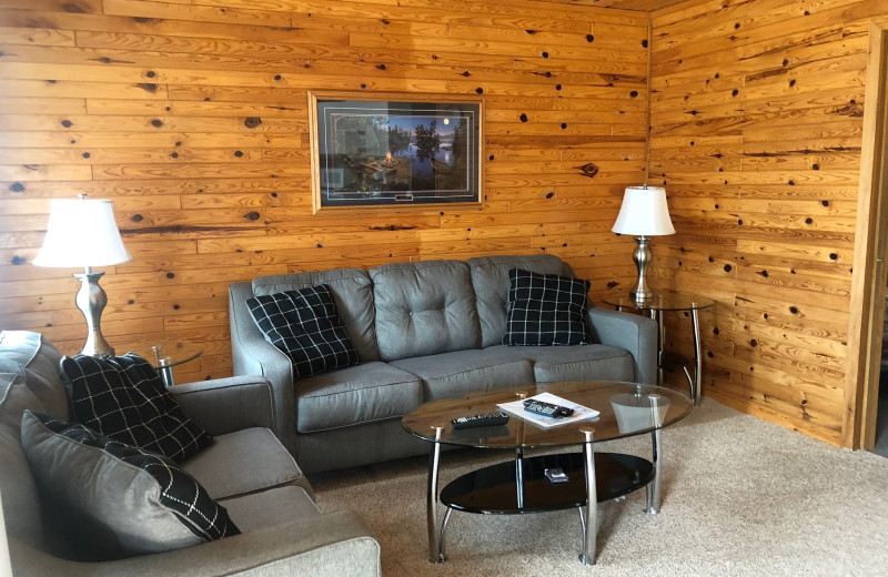 Cabin living room at Dogtooth Lake Resort.