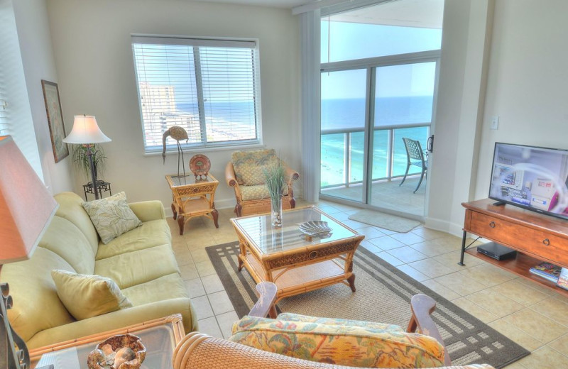 Rental living room at CondoLux Vacation Rentals.