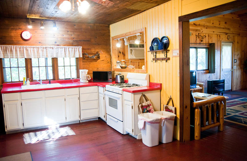 Cabin kitchen at Campfire Bay Resort.