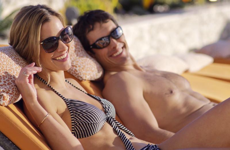 Couple sunning at Grand Sierra Resort and Casino.