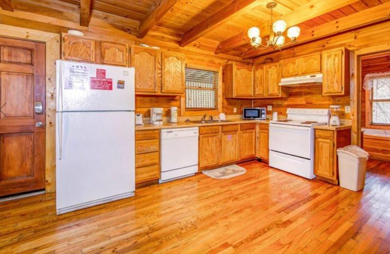 Cabin kitchen at TNT Cabin Rentals.