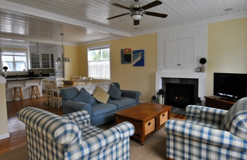 Vacation rental living room at Bella Beach Property Management.