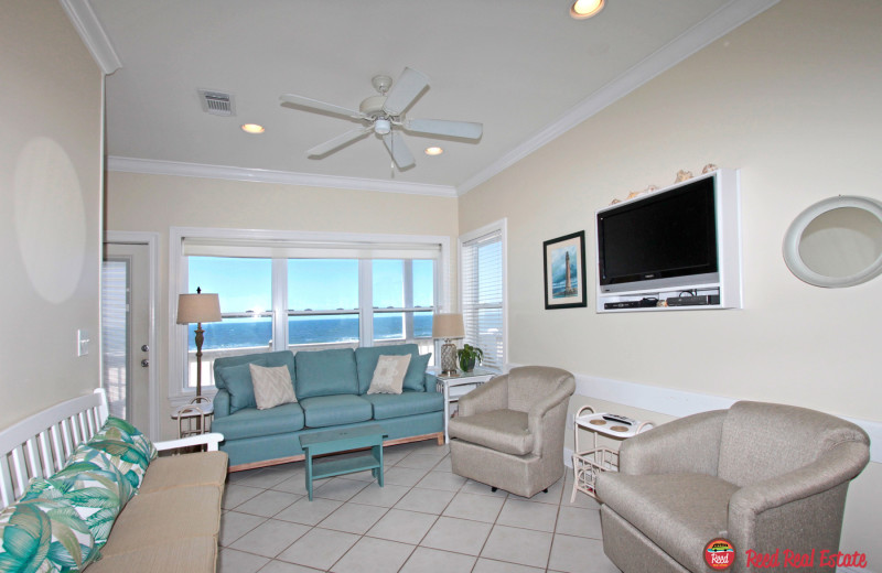 Rental living room at Reed Real Estate Vacation Rentals.