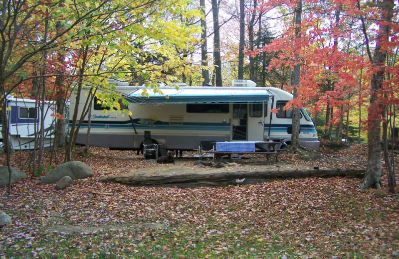 RV site at Old Forge Camping Resort.