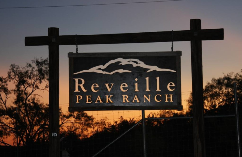 Welcome sign at Reveille Peak Ranch.