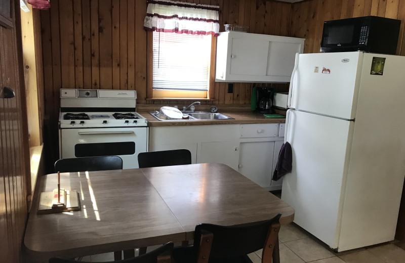 Cabin kitchen at Driftwood Resort.