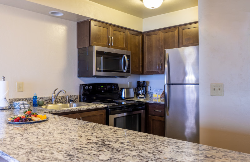 Guest kitchen at Driftwood Shores Resort and Conference Center.