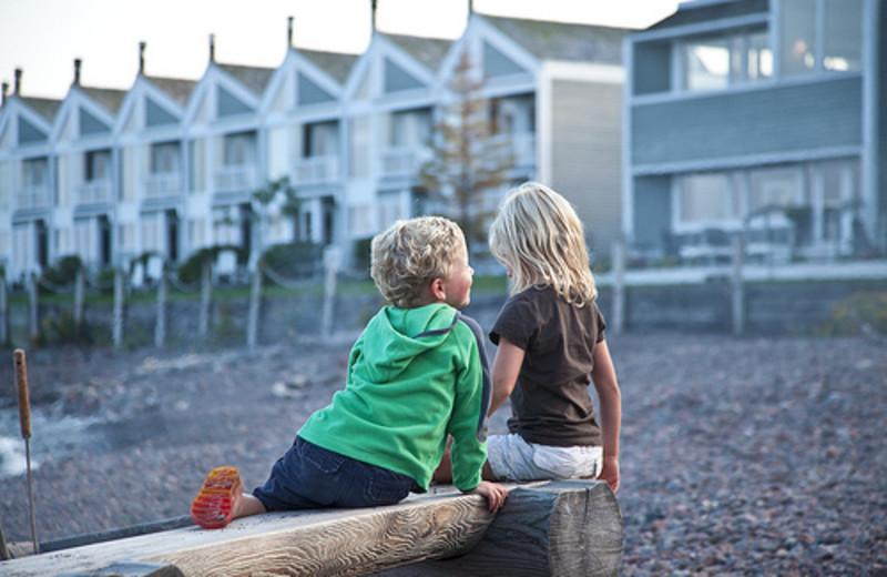 Kids at Bluefin Bay on Lake Superior.